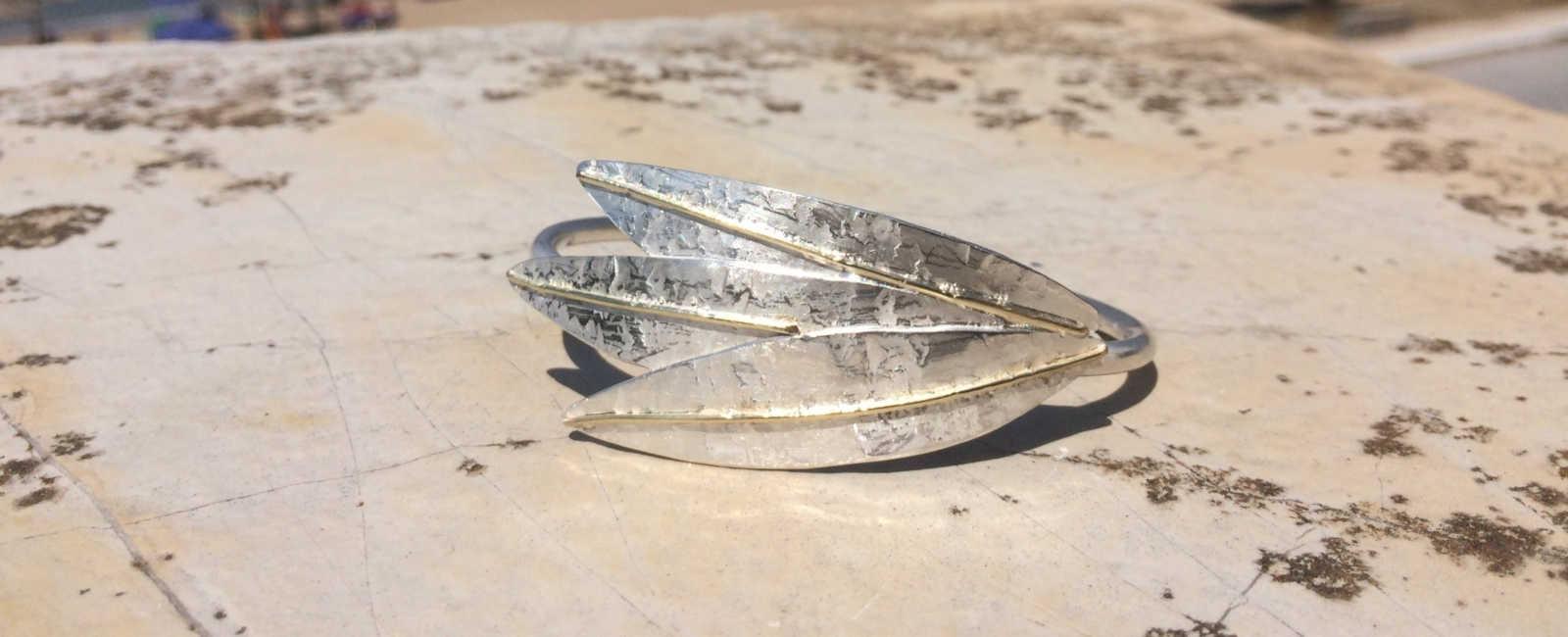 Armspange Olivenblätter Silber Gold
