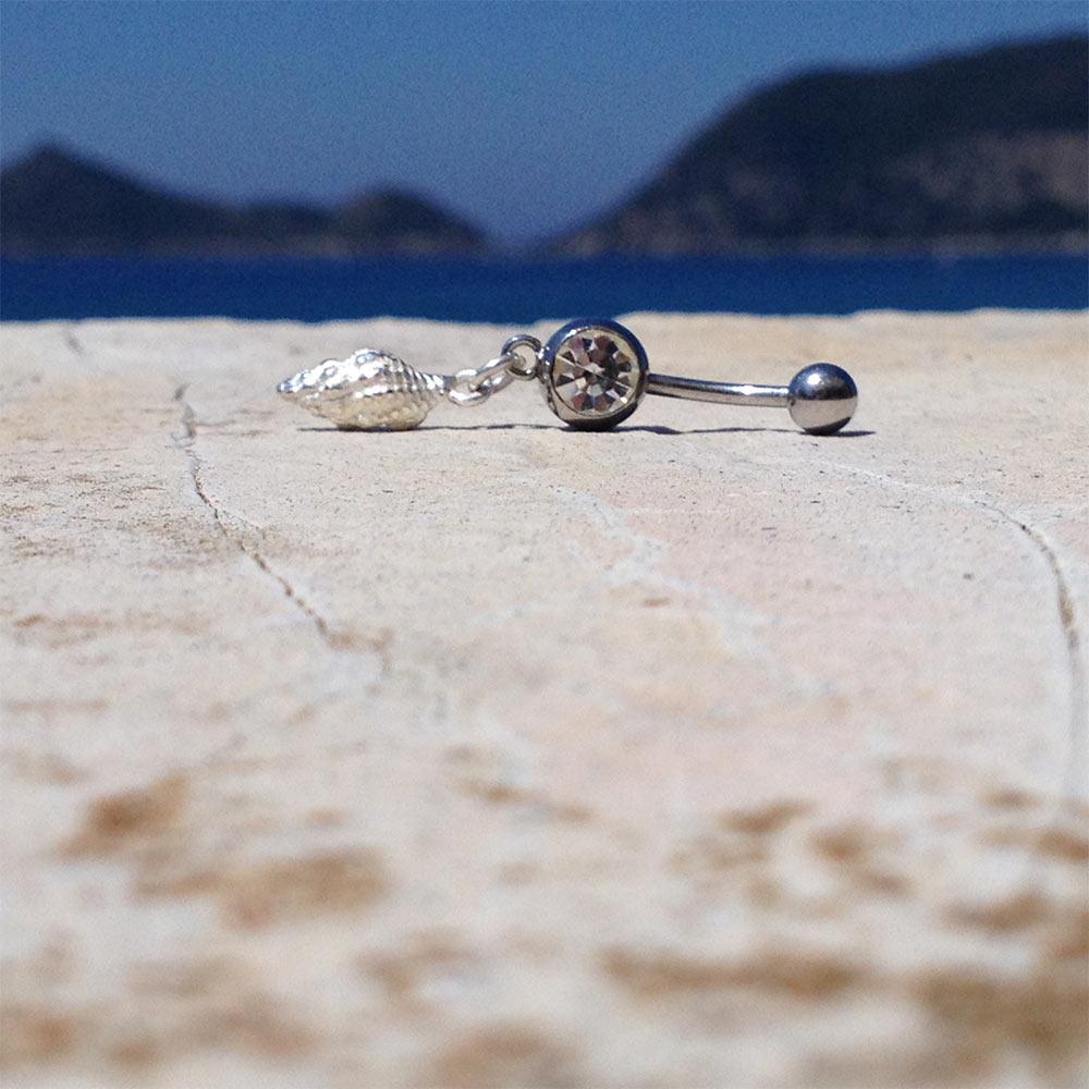 Bauchnabelpiercing Silber Muschel