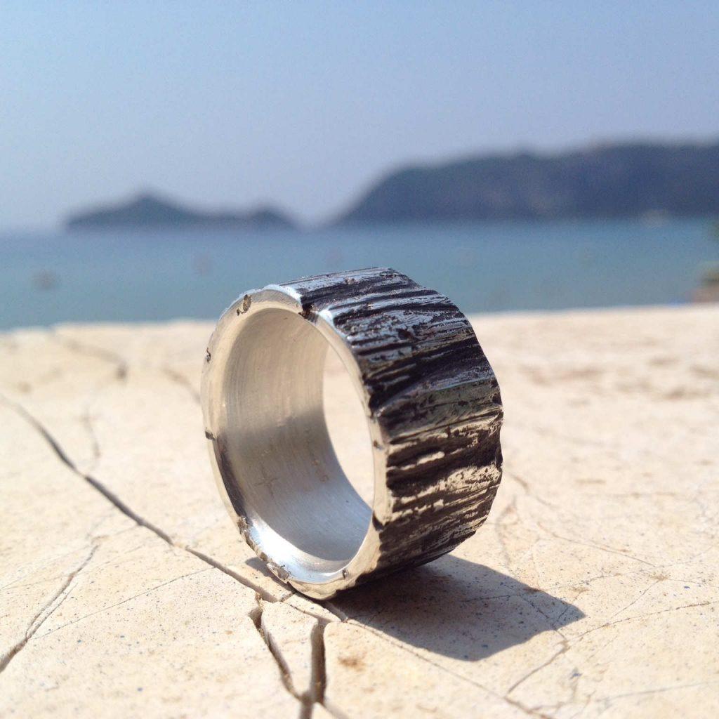 Ring Silbergeschwärzt Struktur
